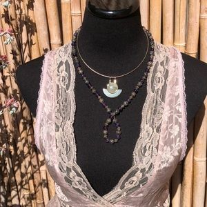 """Jewelry - Silver Rose Carved Beads & Amethyst Necklace 24"""""""
